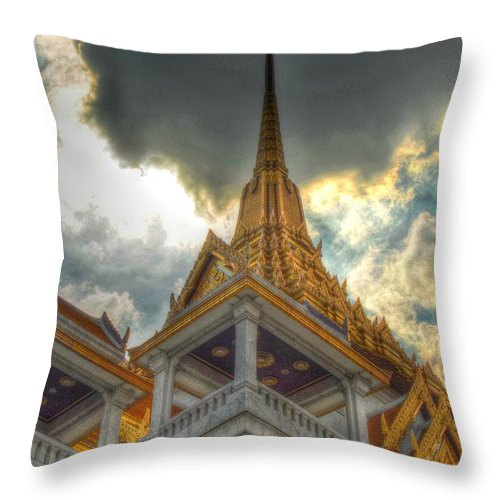 Michelle Meenawong Throw Pillow featuring the photograph Temple Roof by Michelle Meenawong