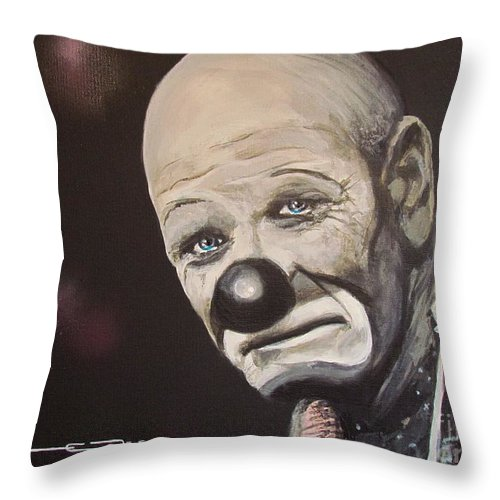 Joey The Clown Throw Pillow featuring the painting The Clown by Eric Dee
