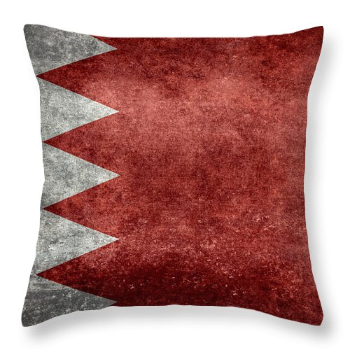 Red Throw Pillow featuring the digital art The Flag Of The Kingdom Of Bahrain Vintage Version by Bruce Stanfield