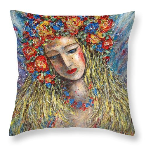 Painting Throw Pillow featuring the painting The Loving Angel by Natalie Holland