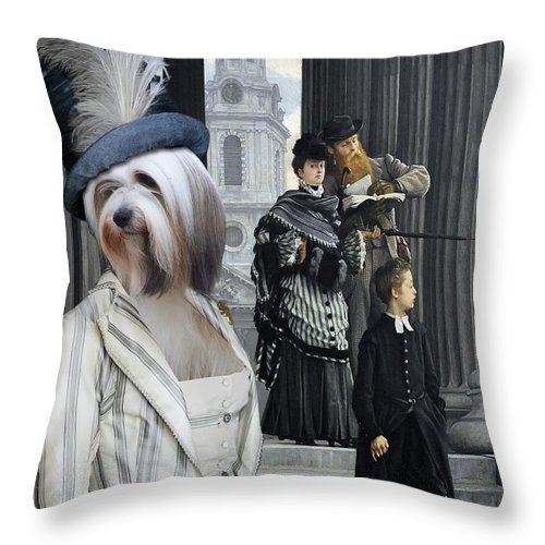 Tibetan Terrier Throw Pillow featuring the painting Tibetan Terrier Art Canvas Print by Sandra Sij