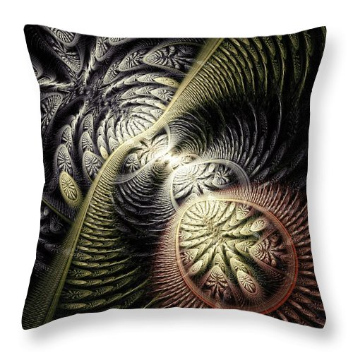 Malakhova Throw Pillow featuring the digital art Trilobite Trail by Anastasiya Malakhova