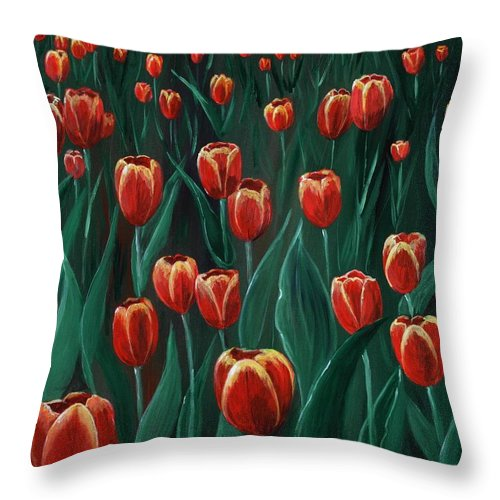 May Throw Pillow featuring the painting Tulip Festival by Anastasiya Malakhova