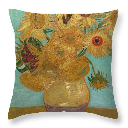Vincent Van Gogh Throw Pillow featuring the painting Vase With Twelve Sunflowers by Vincent van Gogh