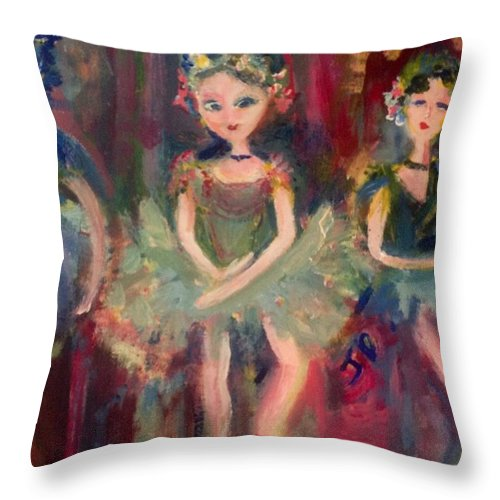 Ballet Throw Pillow featuring the painting Victorian Christmas Ballet by Judith Desrosiers