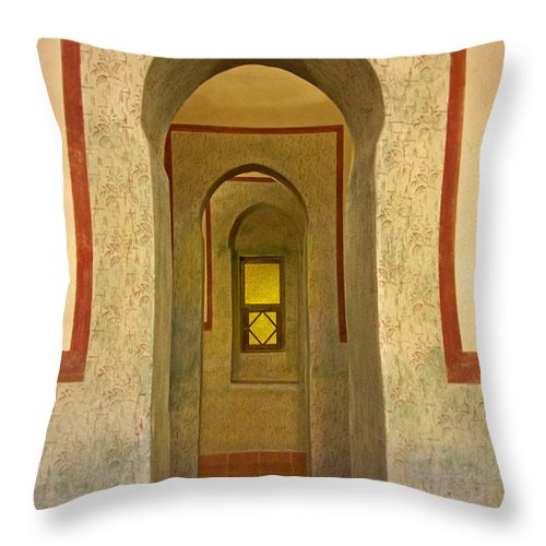 Architecture Throw Pillow featuring the photograph View Through The Passage by Claudio Bacinello