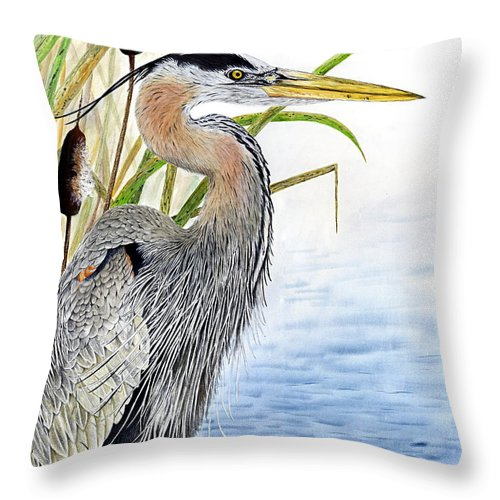Great Blue Heron Throw Pillow featuring the painting Waters Edge by Marc De Groote