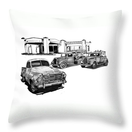Throw Pillow featuring the drawing 003-gathering by Keith Spence