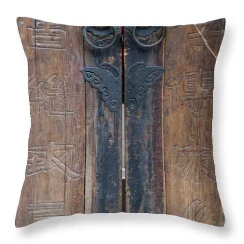 Asia Throw Pillow featuring the photograph 0056-door by David Lange