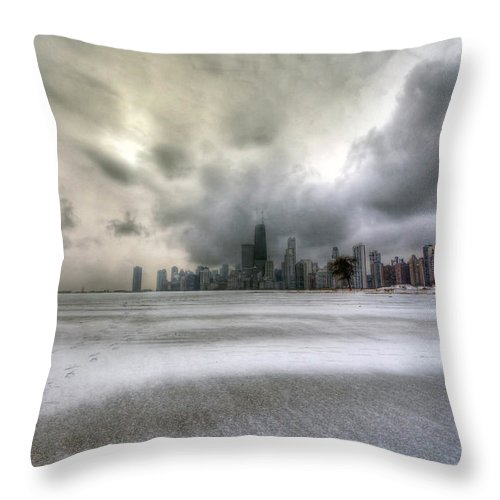 Chicago Throw Pillow featuring the photograph 0242 Wintry Chicago by Steve Sturgill