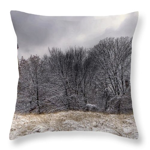 Grosse Throw Pillow featuring the photograph 0243 Grosse Point Lighthouse Evanston Illinois by Steve Sturgill