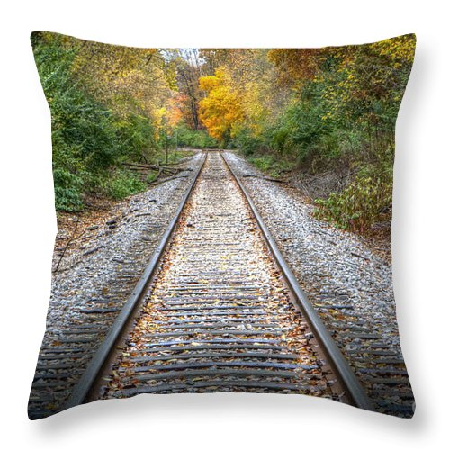 Train Throw Pillow featuring the photograph 0276 Tracks by Steve Sturgill