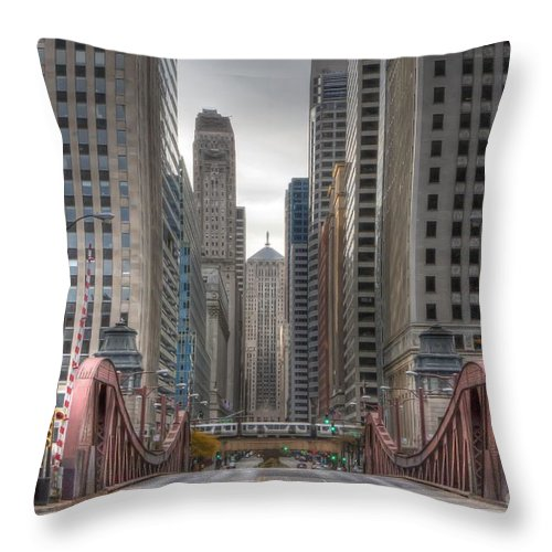Chicago Throw Pillow featuring the photograph 0295 Lasalle Street Chicago by Steve Sturgill