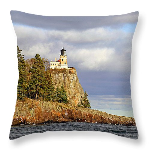 Split Throw Pillow featuring the photograph 0376 Split Rock Lighthouse by Steve Sturgill