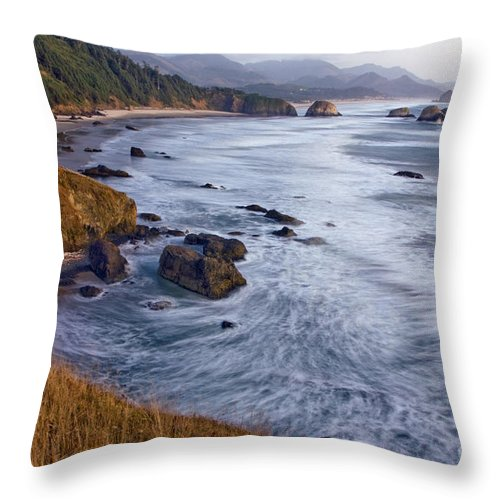Cannon Throw Pillow featuring the photograph 0412 Indian Beach by Steve Sturgill