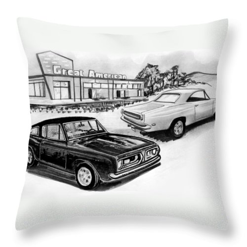 Throw Pillow featuring the drawing 042-grt American by Keith Spence