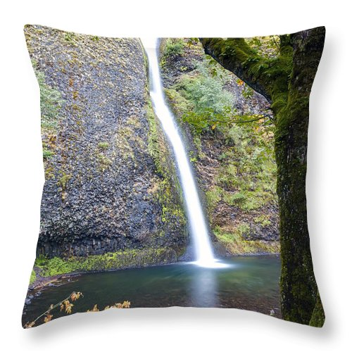 Horse Throw Pillow featuring the photograph 0508 Horsetail Falls by Steve Sturgill