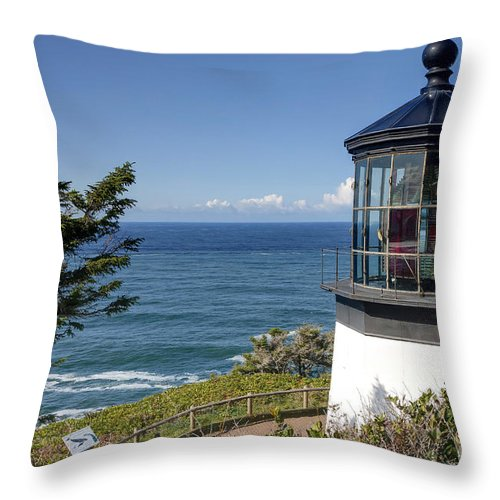 Cape Throw Pillow featuring the photograph 0511 Cape Mears Lighthouse - Oregon by Steve Sturgill