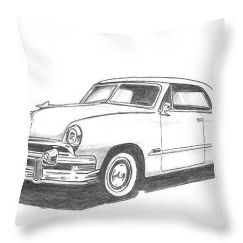 Throw Pillow featuring the drawing 053-old51 by Keith Spence