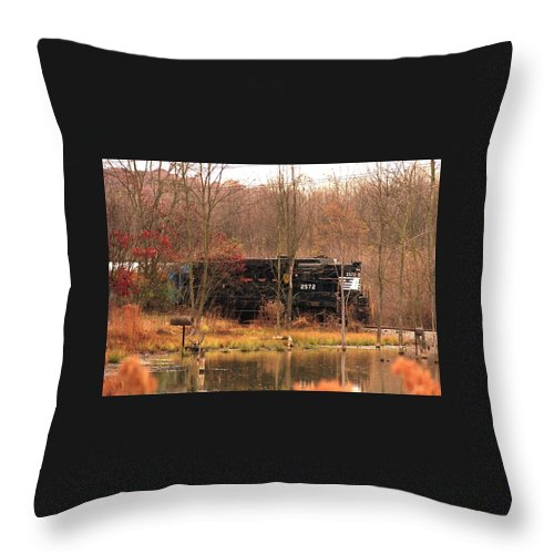 Train Throw Pillow featuring the photograph 080706-57 by Mike Davis