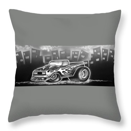 Throw Pillow featuring the drawing 081-truck by Keith Spence