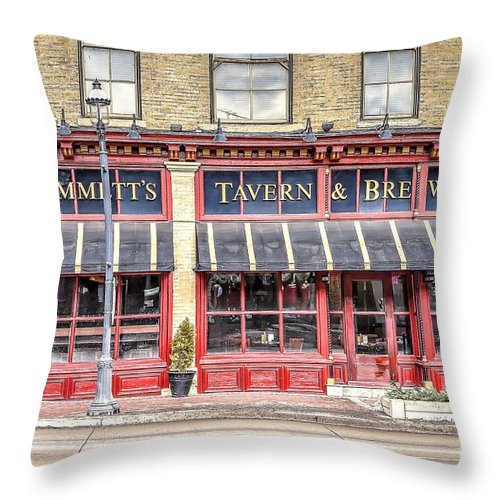 Emmett Throw Pillow featuring the photograph 0875 Emmett's Tavern And Brewing Company by Steve Sturgill