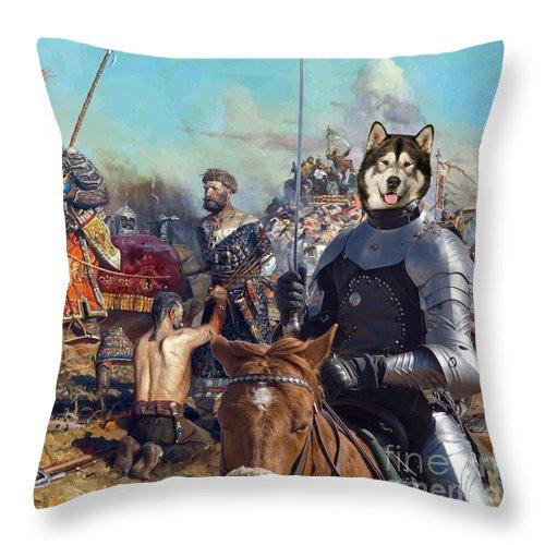 Alaskan Malamute Throw Pillow featuring the painting  Alaskan Malamute Art Canvas Print by Sandra Sij