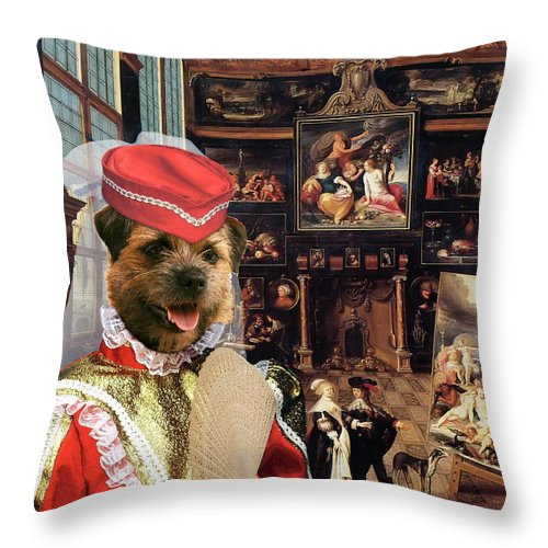 Border Terrier Throw Pillow featuring the painting Border Terrier Art Canvas Print by Sandra Sij