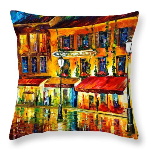 Afremov Throw Pillow featuring the painting Paris Night Montmartre by Leonid Afremov