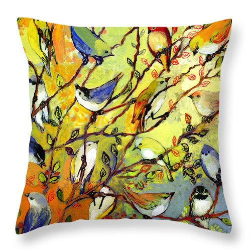 Bird Throw Pillow featuring the painting 16 Birds by Jennifer Lommers