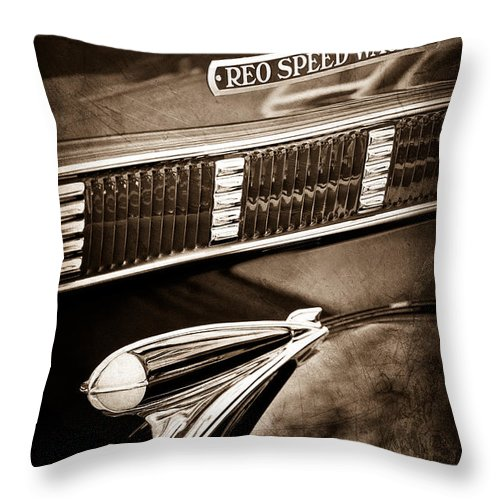 1935 Reo Speed Wagon 6ap Pickup Emblem Throw Pillow featuring the photograph 1935 Reo Speed Wagon 6ap Pickup Emblem by Jill Reger