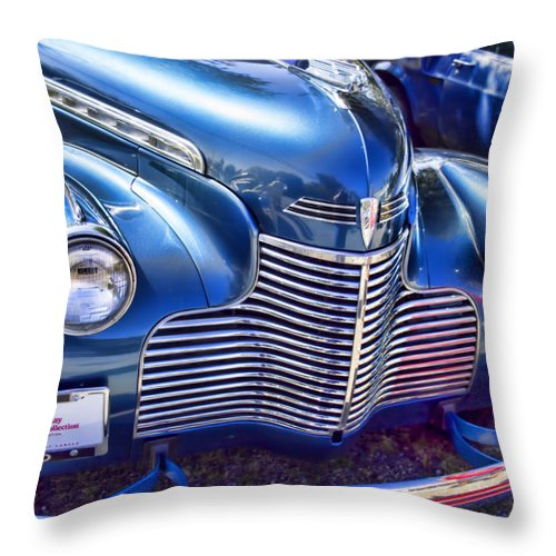 Throw Pillow featuring the photograph 1940 Chevy Grill by Cathy Anderson