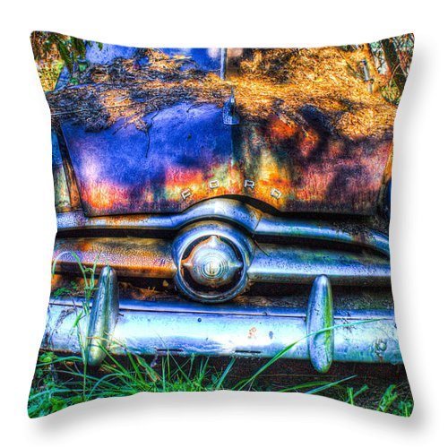 Throw Pillow featuring the photograph 1950 Ford To Be Reconditioned by Douglas Barnett