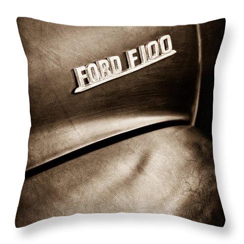 1953 Ford F-100 Pickup Truck Emblem Throw Pillow featuring the photograph 1953 Ford F-100 Pickup Truck Emblem by Jill Reger