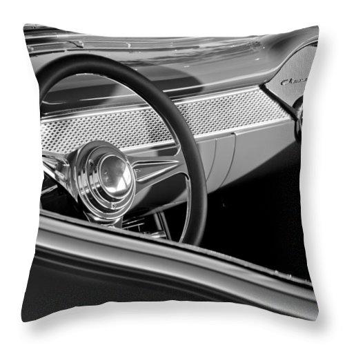 1955 Chevrolet 210 Steering Wheel Throw Pillow featuring the photograph 1955 Chevrolet 210 Steering Wheel by Jill Reger