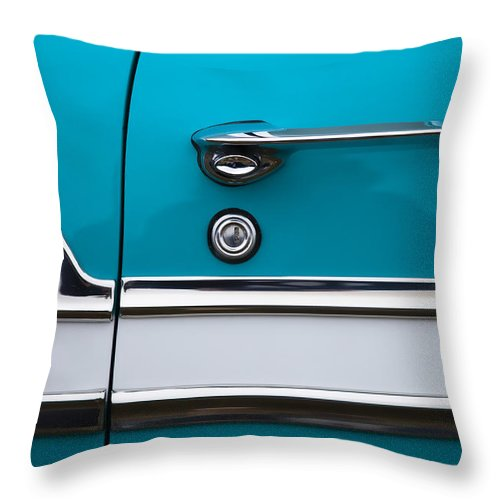 1956 Throw Pillow featuring the photograph 1956 Chevrolet Bel Air by Carol Leigh