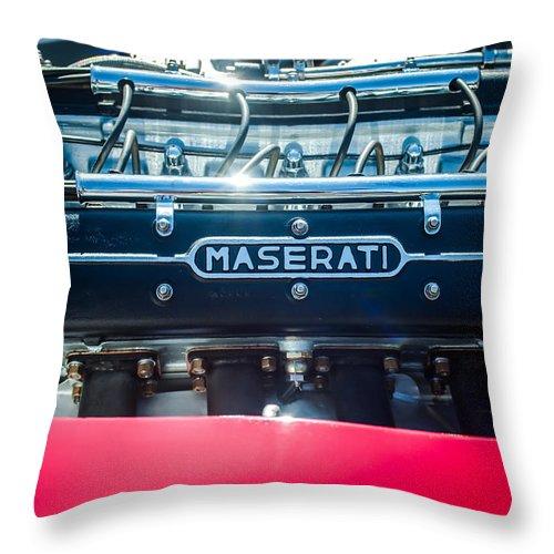 1956 Maserati 150s Engine Emblem Throw Pillow featuring the photograph 1956 Maserati 150s Engine Emblem by Jill Reger