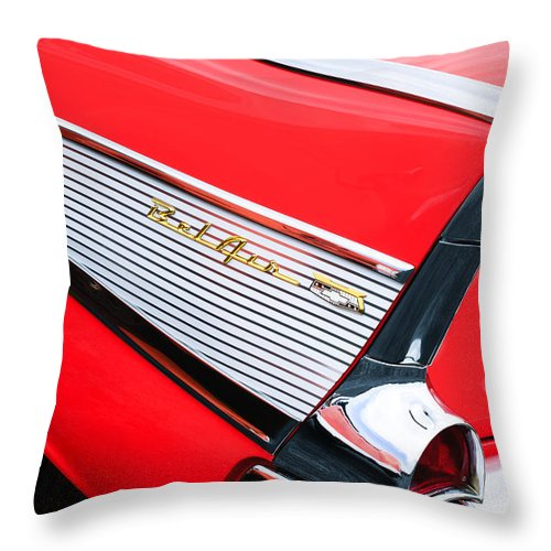 1957 Chevrolet Belair Convertible Taillight Emblem Throw Pillow featuring the photograph 1957 Chevrolet Belair Convertible Taillight Emblem by Jill Reger