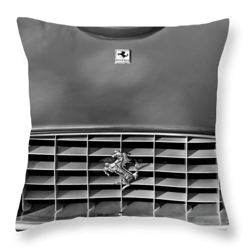 1957 Ferrari 410 Superamerica Coupe Grille Emblem Throw Pillow featuring the photograph 1957 Ferrari 410 Superamerica Coupe Grille Emblem by Jill Reger