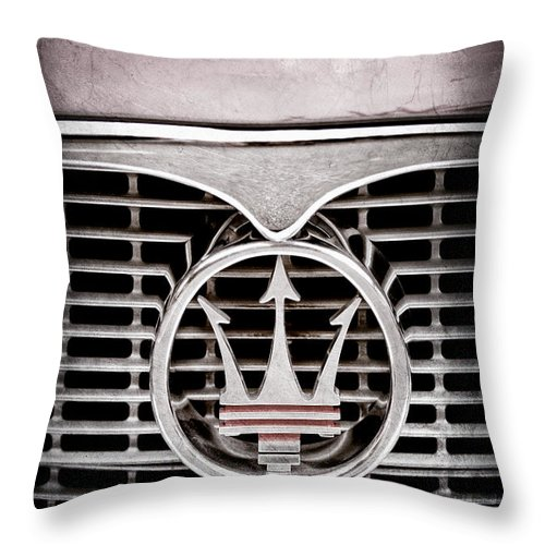 1958 Maserati Hood Throw Pillow featuring the photograph 1958 Maserati Hood - Grille Emblem by Jill Reger