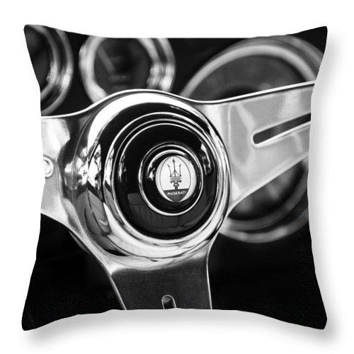 1958 Maserati Steering Wheel Emblem Throw Pillow featuring the photograph 1958 Maserati Steering Wheel Emblem by Jill Reger