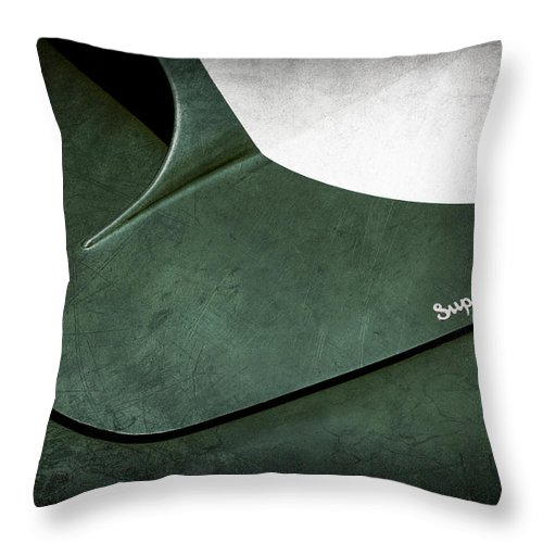 1959 Aston Martin Db4 Gt Hood Emblem Superleggera Throw Pillow featuring the photograph 1959 Aston Martin Db4 Gt Hood Emblem Superleggera by Jill Reger