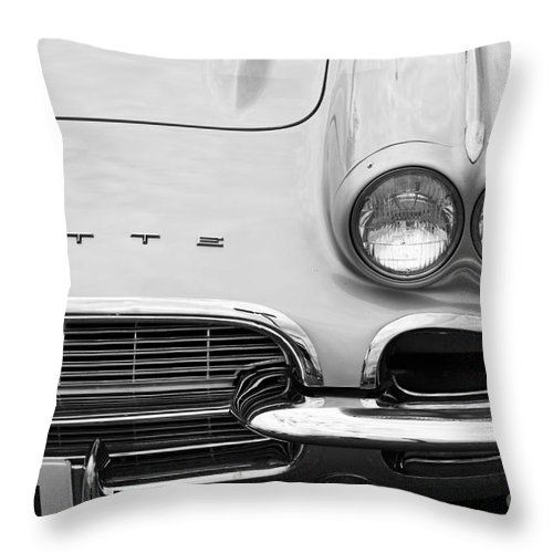 1961 Chevrolet Corvette Throw Pillow featuring the photograph 1961 Vette by Dennis Hedberg