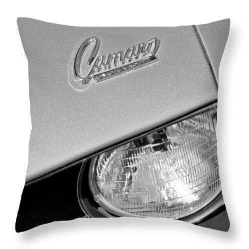 1969 Chevrolet Camaro Headlight Emblem Throw Pillow featuring the photograph 1969 Chevrolet Camaro Headlight Emblem by Jill Reger