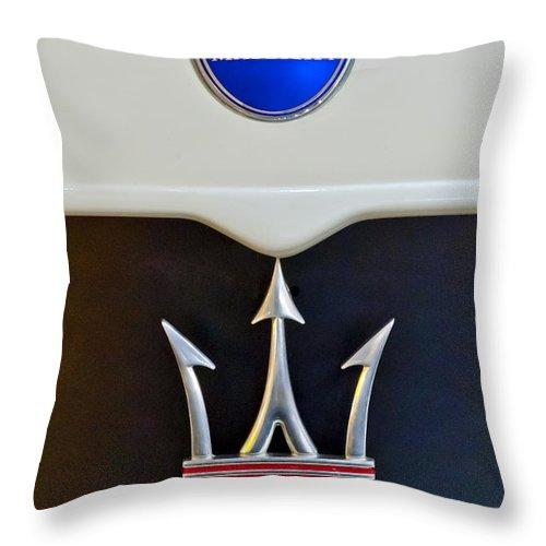 2005 Maserati Mc 12 Throw Pillow featuring the photograph 2005 Maserati Mc12 Hood Emblem 1 by Jill Reger