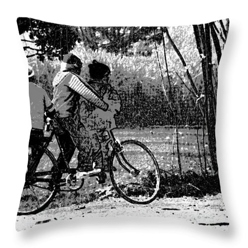 Balancing On A Cycle Throw Pillow featuring the digital art 3 Young Children On A Cycle At The Side Of The Road by Ashish Agarwal