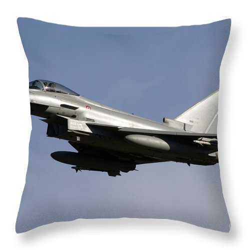 No People Throw Pillow featuring the photograph A Eurofighter Typhoon 2000 Multirole by Luca Nicolotti