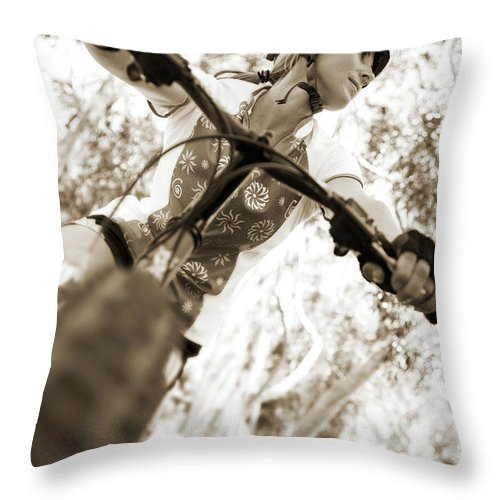 Adult Throw Pillow featuring the photograph A Female Mountain Biker by Ty Milford