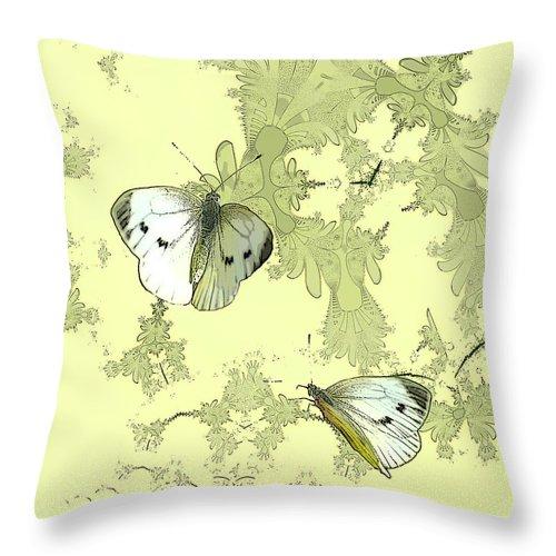 Butterflies Throw Pillow featuring the digital art A Feuilles Vertes by Sharon Lisa Clarke