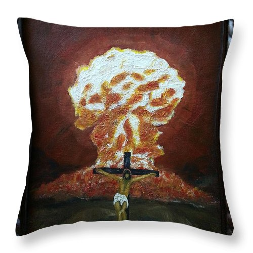 Original Framed Piece For Sale - Jesus On The Cross & Hiroshima Cloud In Background Throw Pillow featuring the painting A New Beginning 2 by Myrtle Joy